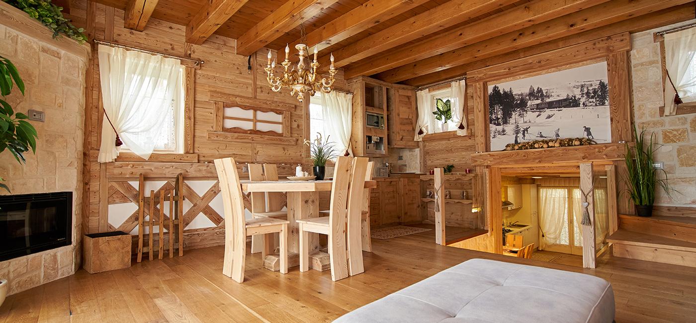 soggiorno in tipico stile montano ad asiago
